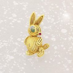 Van Cleef & Arpels, A Diamond Ruby Emerald and Gold 'Rabbit' Pin
