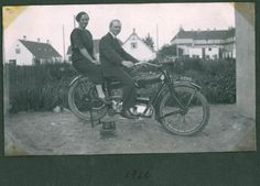 Nimbus 1926, man, woman, female, male, black and white, old photography, wheels, bike, ride, oldie