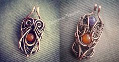 """Copper Pendant Double Sided """"Two faced"""" (50.00 USD) by WireGalaxy"""