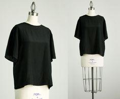 90s Vintage Black Silk Box Shirt / Small by decades on Etsy, $32.00
