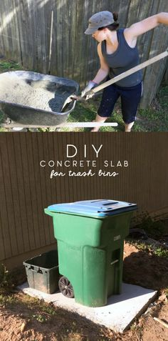 I laid a DIY concrete slab that will serve as a new spot for visibly hiding my city's ugly trash bins from the front street and help curb appeal. Concrete Patios, Concrete Slab Patio, How To Lay Concrete, Mix Concrete, Laying Concrete, Concrete Forms, Concrete Projects, Hide Trash Cans, Outdoor Trash Cans