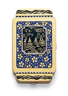 AN ART DECO ENAMEL AND DIAMOND VANITY CASE  The polished gold oblong rectangular case, set with a black enamel and gold Chinese landscape, within a rose-cut diamond border and blue cloisonné enamel foliate background, enhanced with black and white enamel geometric designs, the diamond pushpiece opening to reveal a fitted mirror and closed compartment, mounted in 18k gold,  circa 1930, 2¾ x 1¾ x 3/8 ins., with French assay marks and maker's marks Numbered 61564 and 1023