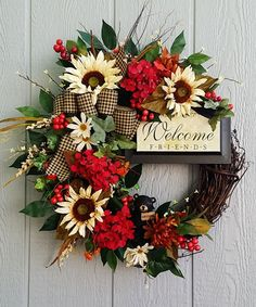 Handmade Fall Grapevine Wreath Welcome by TheChicyShackWreaths (autumn wreath diy rustic)