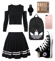 """SECOND DAY OF SCHOOL!!"" by amila5590 ❤ liked on Polyvore featuring Converse, Topshop, CLUSE and Urban Decay"