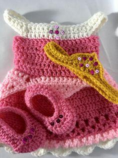 Crochet Princess, Baby Girl Crochet, Crochet For Kids, Free Crochet, Crochet Baby Costumes, Crochet Doll Clothes, Crochet Dresses, Crochet Baby Props, Knit Dress