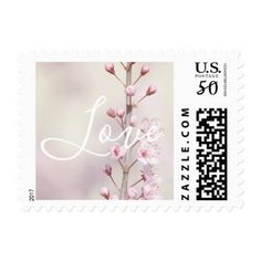Cherry Blossom Flowers Love Postage - flowers floral flower design unique style