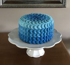 Dairy free, soy free, blue ombre petal cake. Baby boy 1st birthday smash cake. 6 inch round cake.