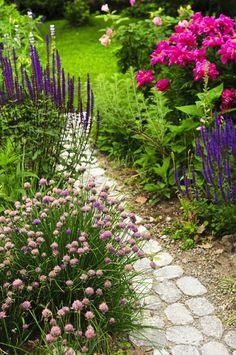 Déco d'une petite allée de jardin en pierres menant vers une pelouse verte. Multitude de plantes et fleurs différentes comme des tulipes et des roses.