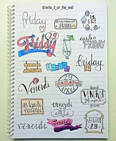 IT'S FRIDAY! some inspiration for your next friday! _ un po' d'ispirazione per il vostro prossimo venerdi (english/italiano) Journal Layout, My Journal, Journal Pages, Weekly Log, Doodles, Pretty Notes, Sketch Notes, School Notes, Bullet Journal Inspiration