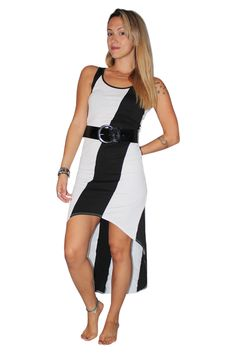 Belted, Long Dress With ColorBlock Stripe! Black/White. - 5dollarfashions.com