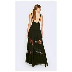 Fame&Partners Long V Neck Black Juliette Dress ($230) ❤ liked on Polyvore featuring dresses, black, longv-necklace, homecoming dresses, long prom dresses, floral dress, long formal dresses and black formal dresses