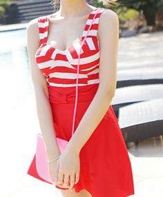 $17.81 Cute Women's Sweetheart Neckline Padded Striped One-Piece Swimwear