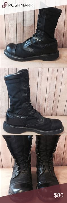 "Corcoran Military Jump Boots Sz 10 Combat Leather Men's size 10 ten-inch high jump / combat military style work boots by Corcoran. Made in the USA. Jet black.   Inner Length: 10.5"" Width: 3.75"" (medium) Boot Height: 10""  Need laces! Some cosmetic wear - the backs of the heels have some wear. Definitely used but with PLENTY of life left in them! Corcoran Shoes Boots"