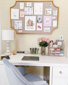 Need a desk refresh? We're loving how revamped her workspac.- Need a desk refresh? We're loving how revamped her workspace with our EmilyandMeritt . Gold Scallop Statement Pinboard, Marble Column Table Lamp and Velvet Tufted Task Chair ✨ Home Office Space, Home Office Design, Home Office Decor, Office Ideas, Dorm Desk Decor, Cute Desk Decor, Small Office Decor, Office Decorations, Bedroom Desk
