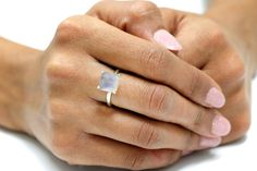 rainbow moonstone ringsterling by AnemoneUnique $49