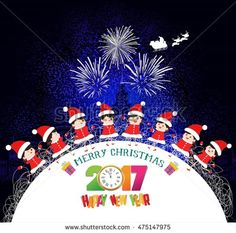 Merry christmas and happy new year 2017 kids in circle winter