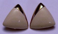 Monet Signed Gold Tone and Cream Enamel Earrings by onetime, $3.00