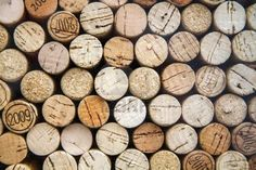 Pattern of wine bottle corks as background, cross sections Stock Photo