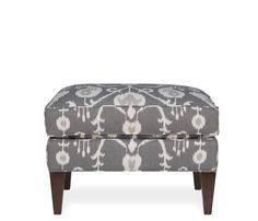Aviva Ottoman - Pewter - A sleek frame and bold graphic pattern makes the Aviva a stunning addition to any space. Upholstered in a pewter ikat fabric with plantation finish legs Ottoman, Furniture, Room, Interior, Dream Living Rooms, Home Decor, Chair And Ottoman, Interiors Dream, Boston Interiors