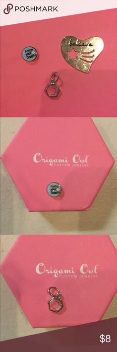 """Lot of six Origami Owl Charms and Bracelet 1) Heart-shaped """"Believe"""" background for heart necklace (can be used as a charm)      2) Sapphire (September birthstone)bead                        3) Crystal octagon-shaped charm                   4) """"Wild at (heart)"""" gold charm                         5) Feather gold charm                                      6) Heart silver charm                                          7) Silver charm bracelet                                               8)…"""
