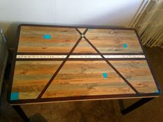 Parquetry Table Design #IkeaTable #Woodstain #Aztec #Parquetry