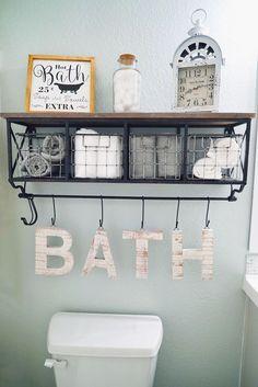 Guest Bathroom Makeover | Bathroom Decor | Sea Salt by Sherwin Williams | White Grey Vanity | Hanging Shelf | Neutral Decor | Farmhouse Style | Clea ..