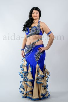 Blue and gold professional belly dance costume for sale for plus-zides woman Aida Style Belly Dance Costumes