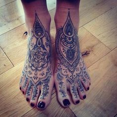 Cool mandala tattoos on the feet of this girl. #tattoo #tattoos #ink
