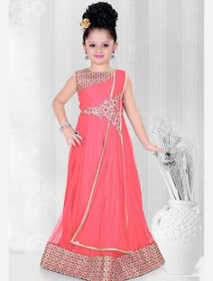Competent Pink Net Hand Work Designer Kids Wear Gown