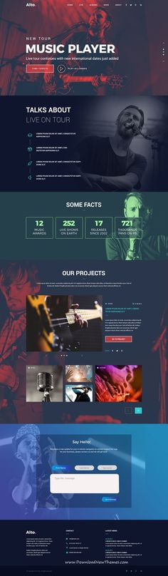 Buy Alto - Musician Landing Page by Imkktheme on ThemeForest. Alto – Musician Landing Page Discover a powerful way to promote your Music Agency, Producer, Band or DJ business with. Music Website Templates, Template Site, Landing Page Inspiration, Website Design Inspiration, Design Ideas, Website Design Layout, Web Layout, Layout Design, Online Web Design