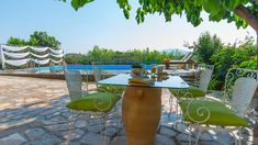 Our View and Outdoor - Villa Natura Zante - Outside there is a paved yard with a new private swimming pool where you can swim all day, enjoy some coctails. Two Storey House, Outdoor Furniture Sets, Outdoor Decor, Private Pool, Swimming Pools, Coastal, Greek, Villa, Yard