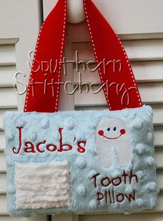 Boy Tooth Fairy Pillow for Boys Personalized Minky Great Gift Birthday Gift Tooth Pillow, Tooth Fairy Pillow, Cute Pillows, Kids Pillows, Great Christmas Gifts, Great Gifts, Embroidery Applique, Machine Embroidery, Kids Backyard Playground