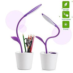 KANGVO Flexible USB Touch LED Desk Lamp with Dimmer and Decor Plant Pencil HolderMultifunctional Sapling Pen Holder LED Desk Lamp For BedroonOffice and Study Purple * Learn more by visiting the image link. (This is an affiliate link) Office Lighting, Kids Lighting, Led Desk Lamp, Table Lamp, Pen Holders, Pencil Holder, Table For Small Space, Purple Rooms, Plant Table