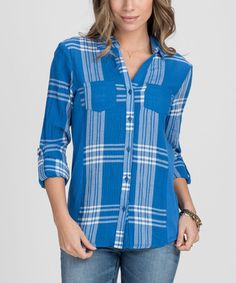 Love this Olympian Blue Plaid Twin-Pocket Roll-Tab Sleeve Button-Up on #zulily! #zulilyfinds