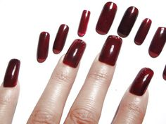 press on fake nail tip red burgundy marsala nail art false halloween christmas…