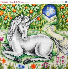 ON SALE Susan Bates UNICORN - British Counted Cross Stitch Pattern Chart - Great Britain