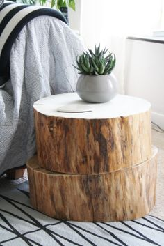 STYLE, SPACE & STUFF Tree trunk side table.