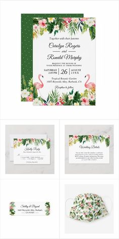 A Tropical Leaves Floral Flamingo Invitation Suite, with items from Invitations to RSVP card, Information Card, Labels, Sign Posters and more. Summer Wedding Invitations, Wedding Rsvp, Wedding Invitation Design, Bridal Shower Photos, Bridal Shower Signs, Bridesmaid Favors, Tropical Leaves, Flamingo, Posters