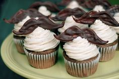 Chocolate mustache cupcakes.
