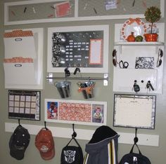 Organization wall.. this one looks cluttered, but along the right track! Maybe a long memory board instead of the chicken wire...