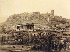Thiseion and Acropolis, Photo by Petros Moraitis Athens History, Greek History, Attica Athens, Athens Greece, Benaki Museum, Parthenon, Ancient Architecture, Ancient Romans, Ancient Greece