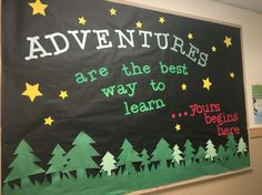 trendy camping theme classroom door back to school Camping Bulletin Boards, Summer Bulletin Boards, Back To School Bulletin Boards, Preschool Bulletin Boards, Preschool Classroom, Kindergarten, Forest Classroom, Classroom Door, Classroom Themes