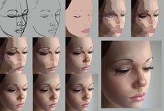 Digital Painting Photoshop Process Technique Realistic Portrait Skin Tones and Blending: