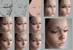 Digital Painting Photoshop Process Technique Realistic Portrait Skin Tones and Blending: