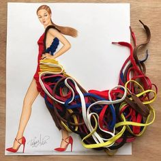 Tangled couture 👌🏼 Made out of shoe laces 👟 Hope you like it guys 😘 Paper Fashion, 3d Fashion, Look Fashion, Ladies Fashion, Fashion Design Drawings, Fashion Sketches, Moda 3d, Dream Illustration, 3d Mode