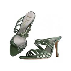Pre-owned Christian Dior Sandals (11.490 RUB) ❤ liked on Polyvore featuring shoes, sandals, high heel sandals, green leather shoes, leather mule sandals, leather sandals and leather mules