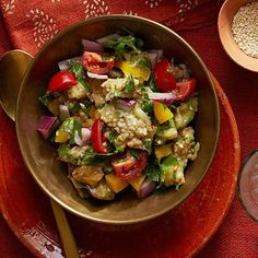 New Mediterranean Recipes: Eggplant Salad with Yellow Peppers and Red Onion