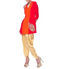#Red & #Orange #Crepe #Georgette #Kurti With #Gold Satin Lycra #Dhoti #Pants by #Seema #Thukral at #Indianroots