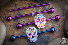 Sugar skull industrial barbell - I love mine Barbell Piercing, Ear Piercings Cartilage, Piercing Tattoo, Body Piercing, Tongue Piercings, Gauges, Industrial Earrings, Industrial Piercing Jewelry, Tatoo