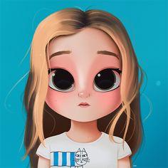 Cartoon, Portrait, Digital Art, Digital Drawing, Digital Painting, Character Design, Drawing, Big Eyes, Cute, Illustration, Art, Girl, Lauren Orlando, Cat, Blonde